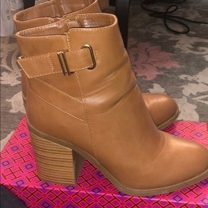 Just Fab Cognac booties